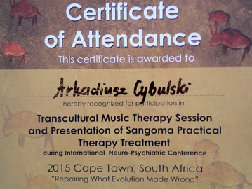 Transcultural Music Therapy Session and Presentation of Sangoma Practical Therapy Treatment: Repairing What Evolution Made Wrong